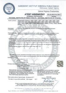 Atest higieniczny PZH klimatyzatory Rotenso V 2017 pdf 212x300 - Rotenso
