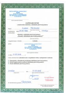 Pierwsza Pomoc - Certyfikaty